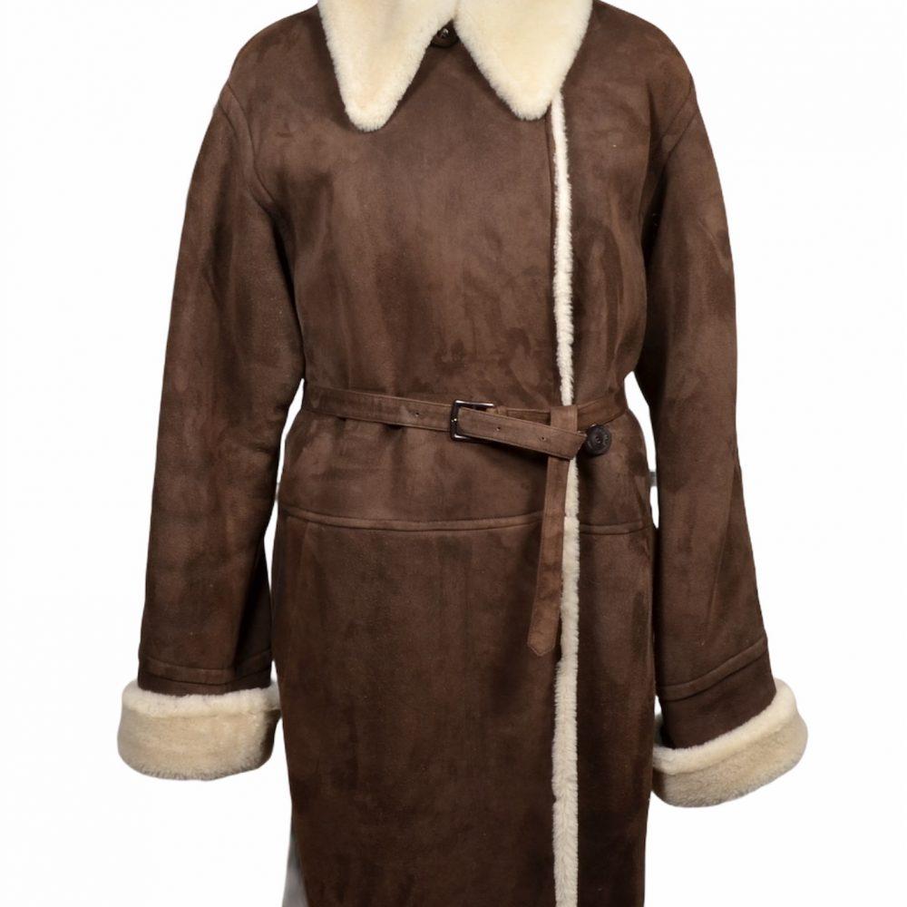 Hermes Paris Lammfell Mantel Coat Lambskin brown 38