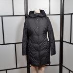 Jil Sander Mantel Coat Nylon schwarz Daunen Down Kaputze 40 (3)