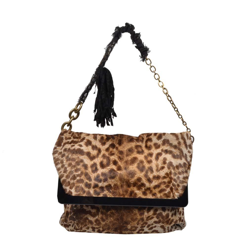 Lanvin Tasche Fell Leopardenmuster Innenfutter und Fransen 500 ( 32x25x8cm ) Kopie