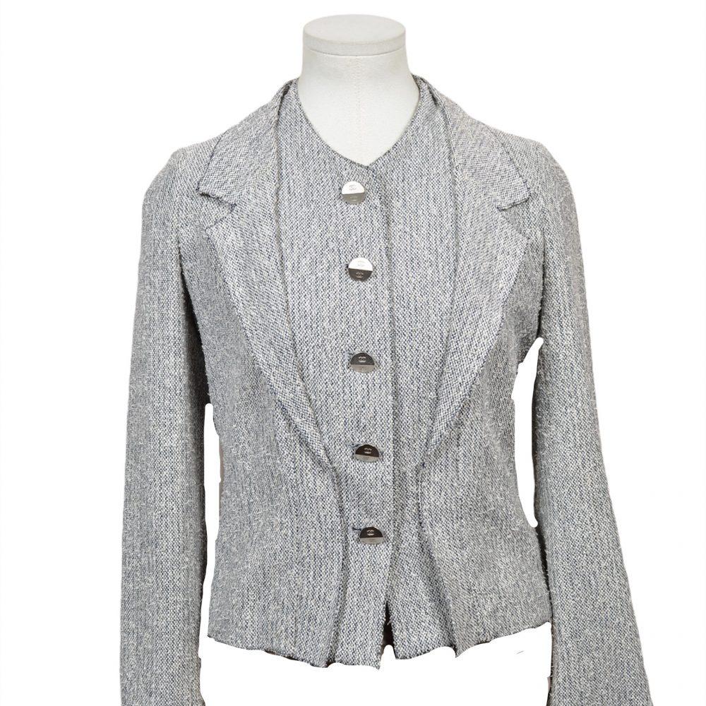 chanel blazer grau 34 700 coton wool