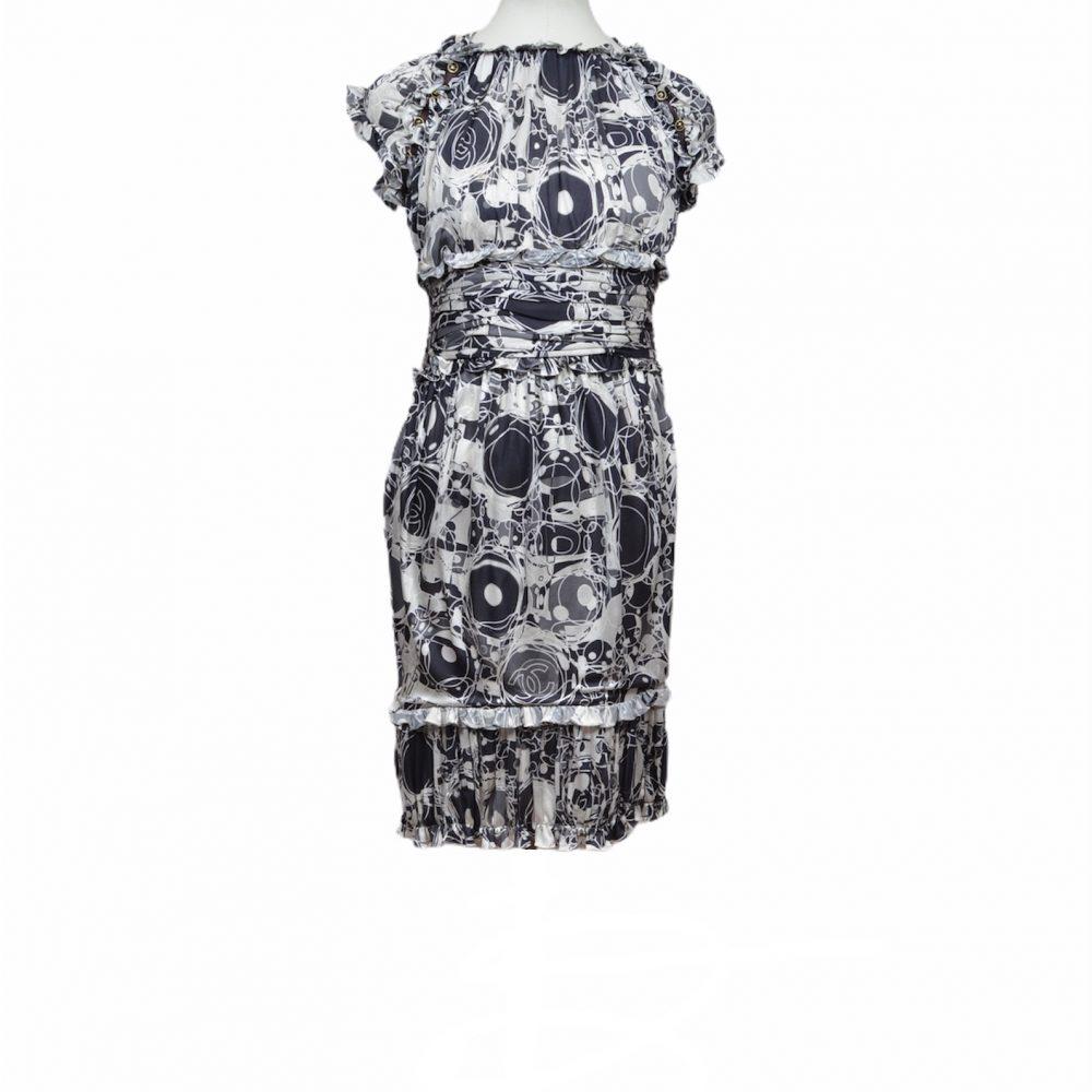 chanel dress black white 34