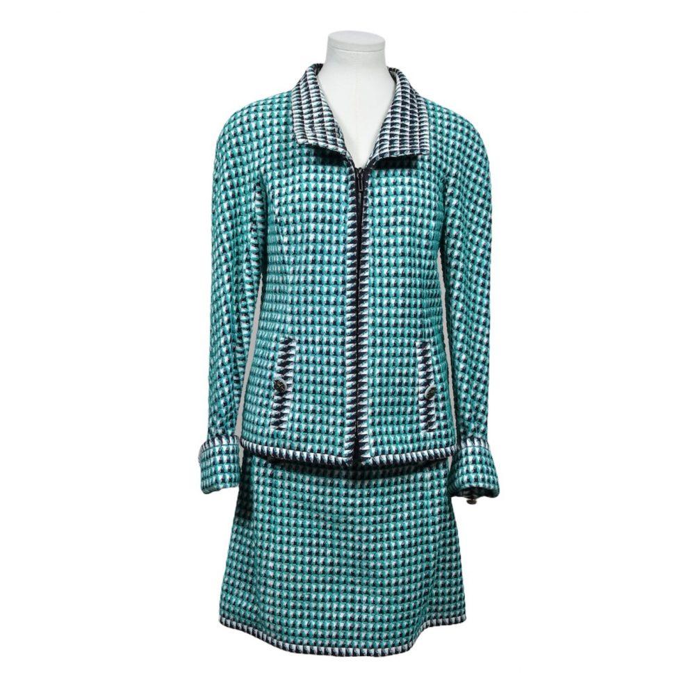 chanel jacket skirt 40 tweed