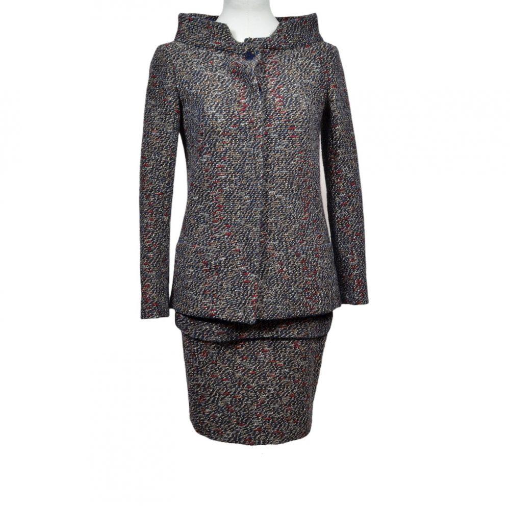 chanel jacket skirt tweed boucle 34