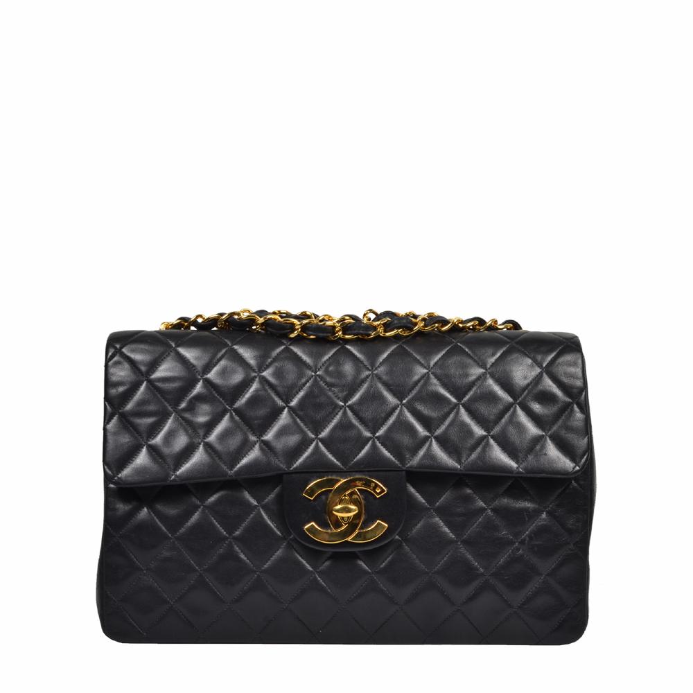 Vintage Chanel Classic 34 Schwarz Nappa Gold 57943 ewa lagan secondhand frankfurt