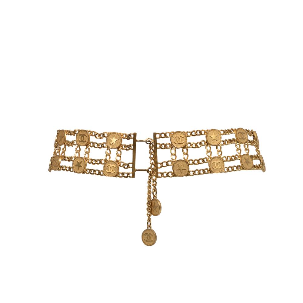 Chanel vier reihige Hüft Gürtelkettel mit Stern + Logo Münzen 900 ( 88cm ) Ewa Lagan Second Hand Frankfurt