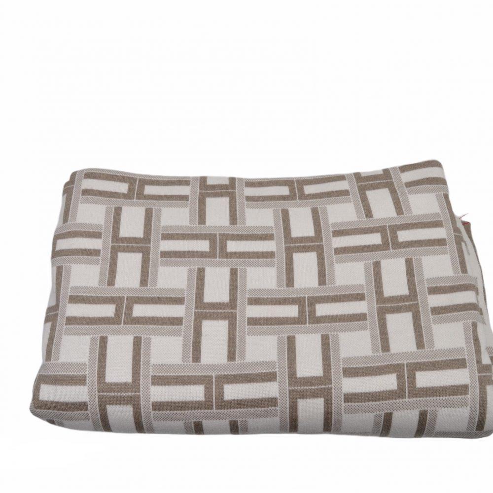 Hermes Decke Baumwolle Kaschmir Seide Ecru grau weiß H-Muster ewa lagan Secondhand Frankfurt Blanket