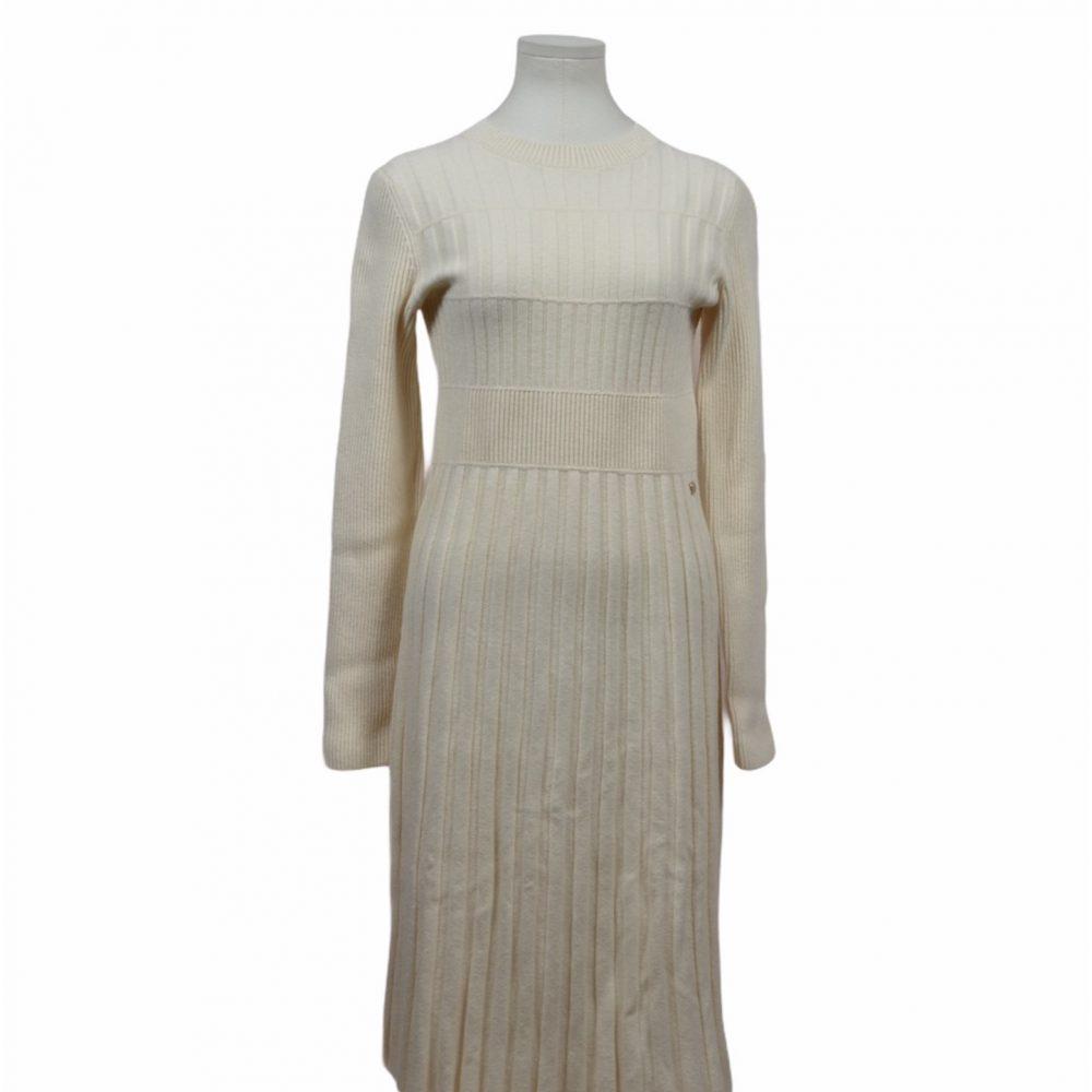 chanel kleid wolle strick weiß dress 42 770 ewa lagan secondhand frankfurt