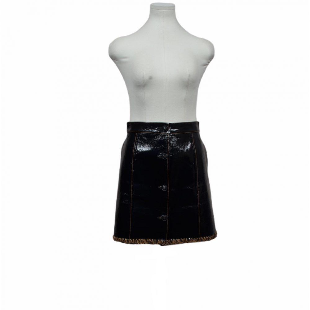 chanel rock 34 leader schwarz 36 1200 leather skirt ewa lagan frankfurt secondhand