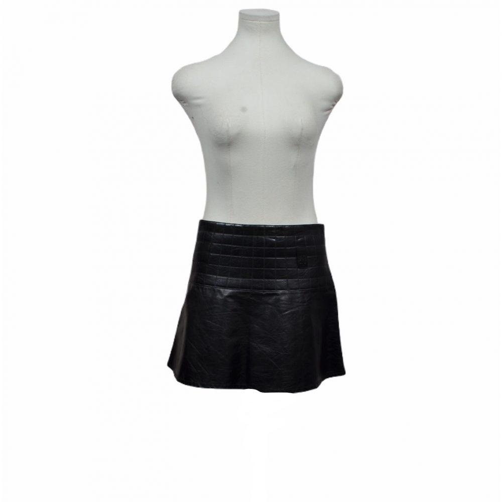 chanel rock leder schwarz 36 skirt mini 450 ewa lagan frankfurt secondhand