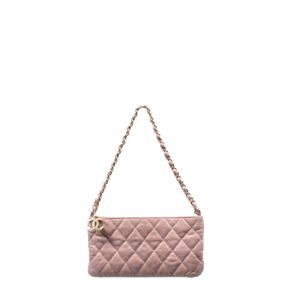 Chanel Clutch Bag Pochette Leder rose Leather Chain Gold