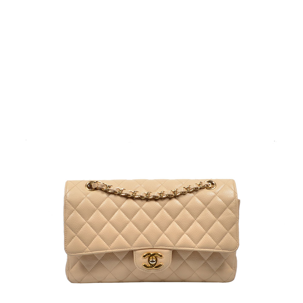 Chanel Tasche Double Flap Timeless 26 Caviar Beige leather Leder Bag Gold