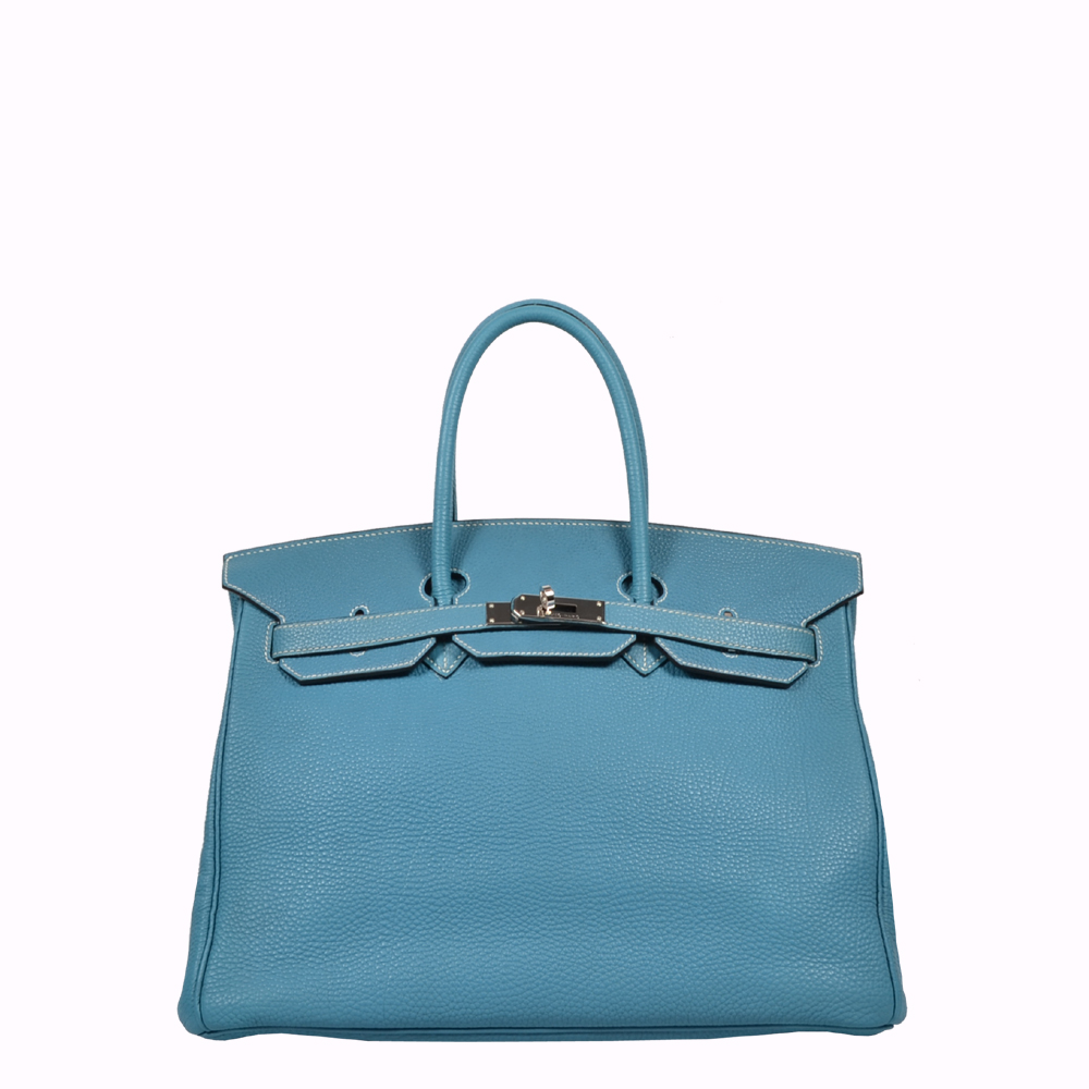 Hermes Birkin 35 Bag Tasche Blue Jeans Togo leather Leder Palladium