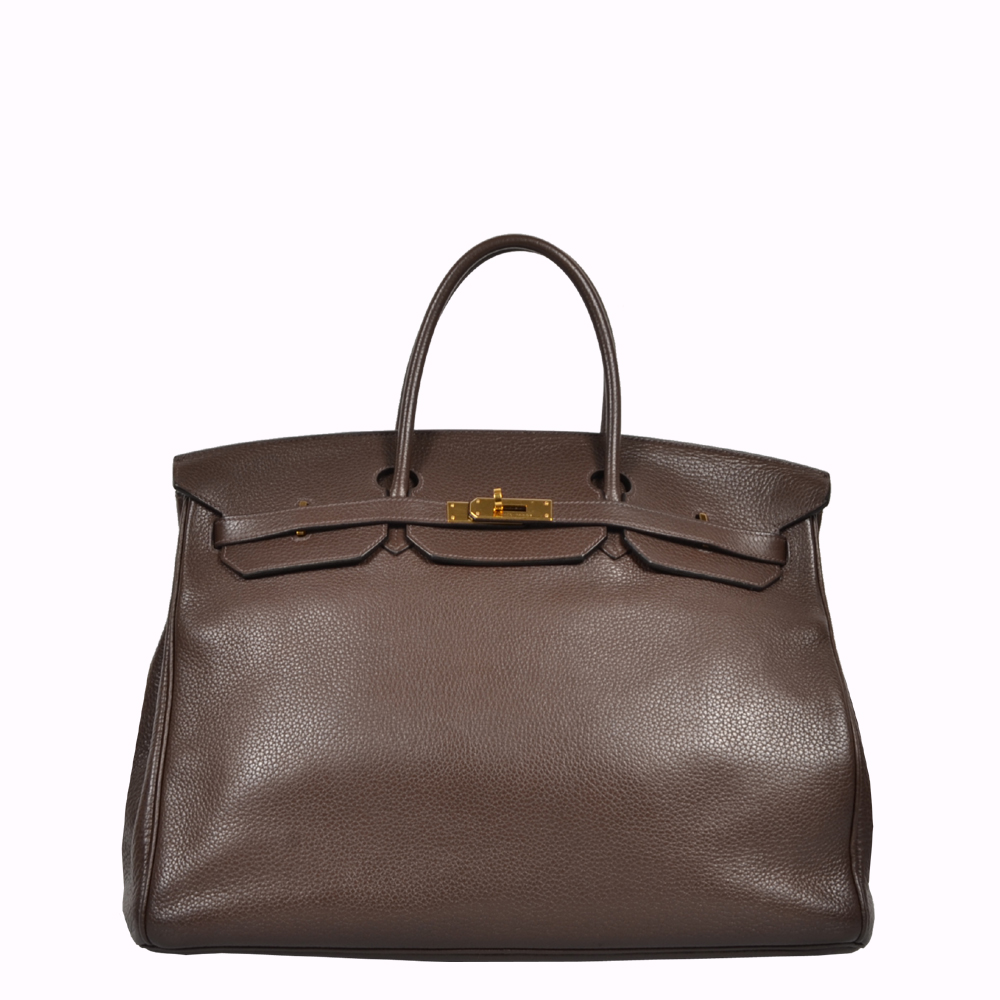 Hermes Birkin 40 Clemence dark brown braun Gold leather Leder