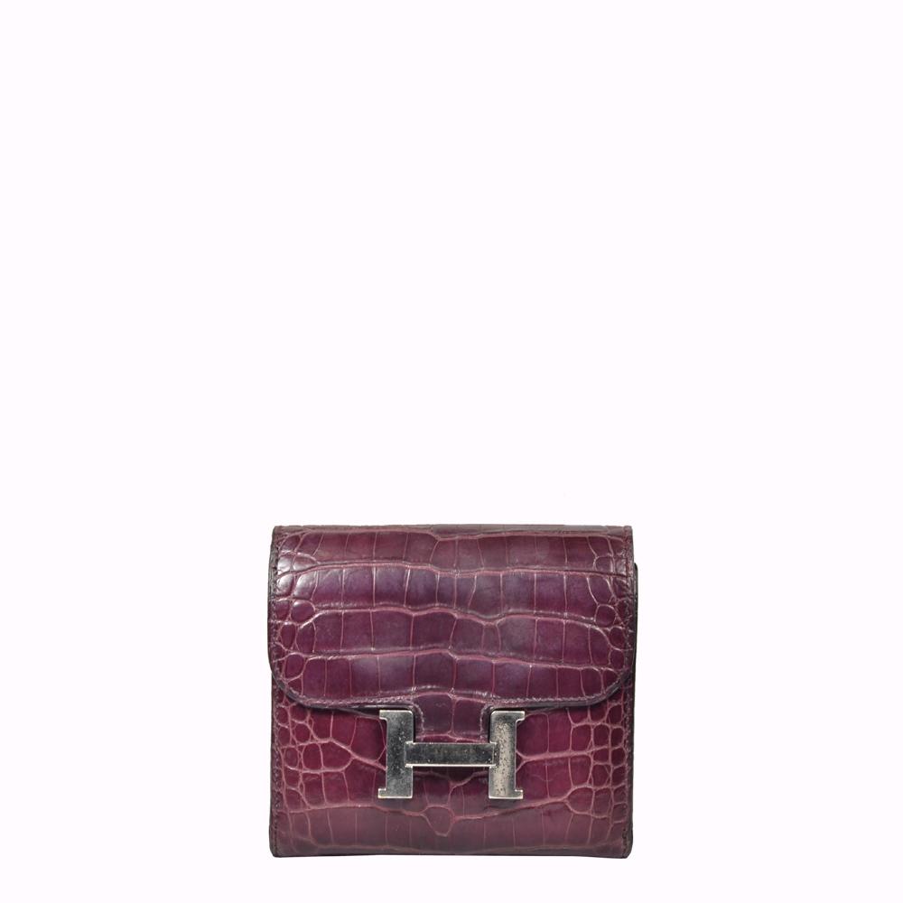Hermes Wallet Geldbörse Constance Alligator Amethyste Crocodile Leather Palladium