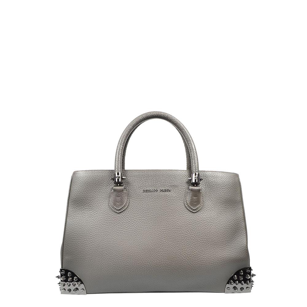 Philipp Plein Tasche Tote Shopper Leder grau Nieten rivet Leather grey