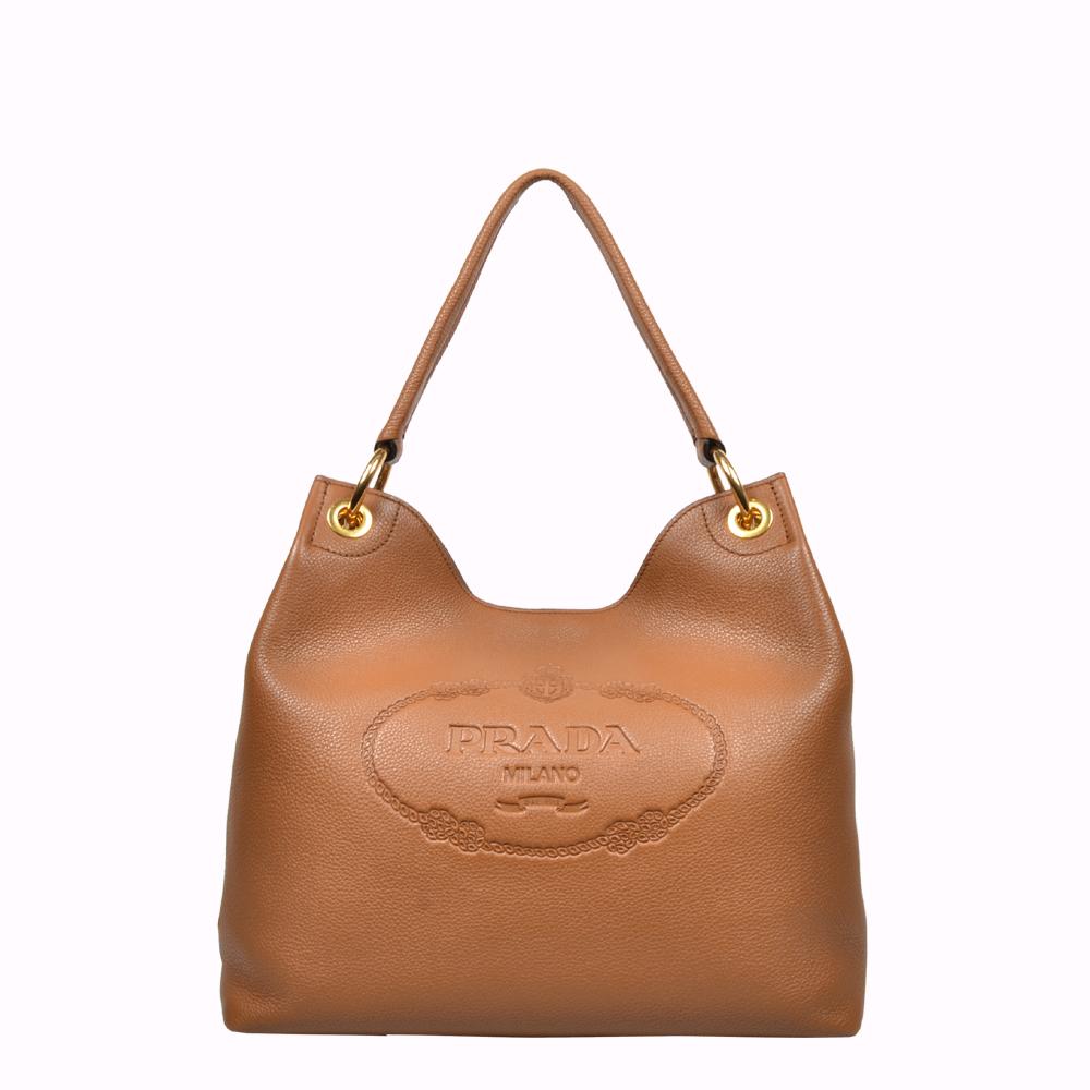 Prada Tasche Shopper Bag Leder grau Leather grey