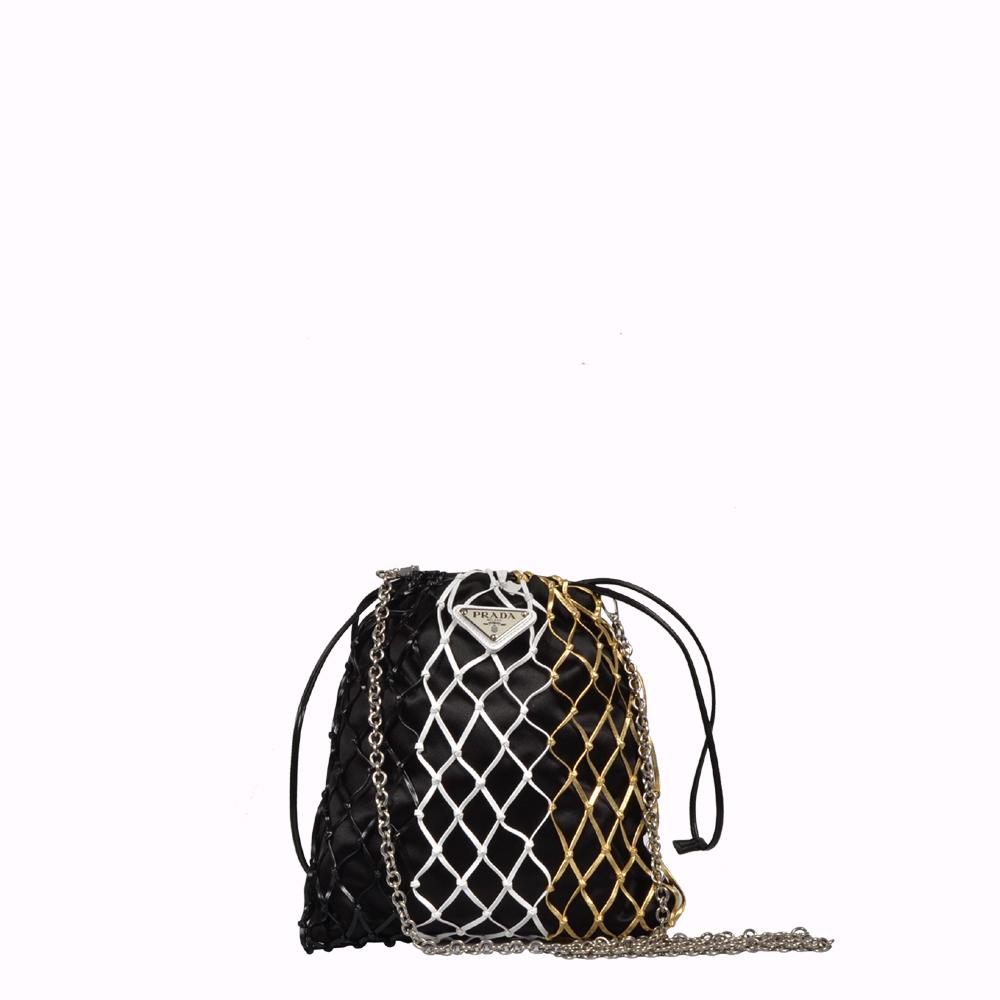 Prada Tasche Clutch aus Mesh und Satin schwarz gold weiß