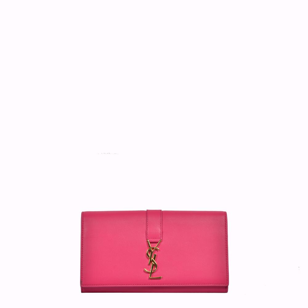 YSL Saint Laurent Geldbörse Leder Pink Gold Logo Wallet
