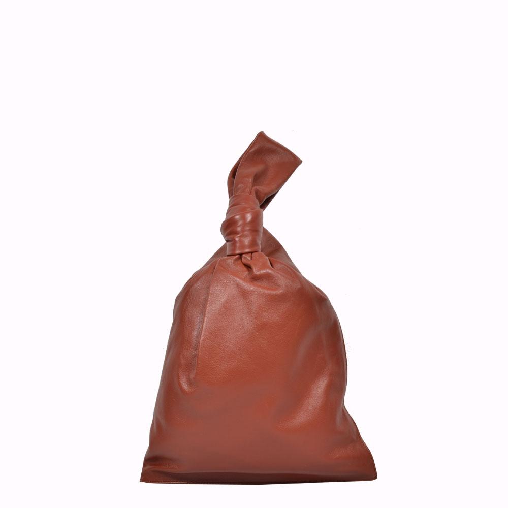 Bottega Veneta Tasche Twist Clutch soft Leder Rost / The Twist knotted leather pouch
