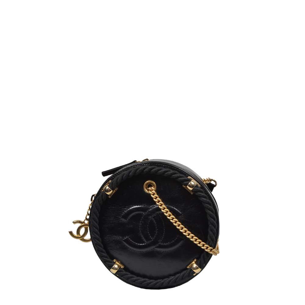 Chanel Crossbody Tasche Rund schwarz Gold mit Kordel