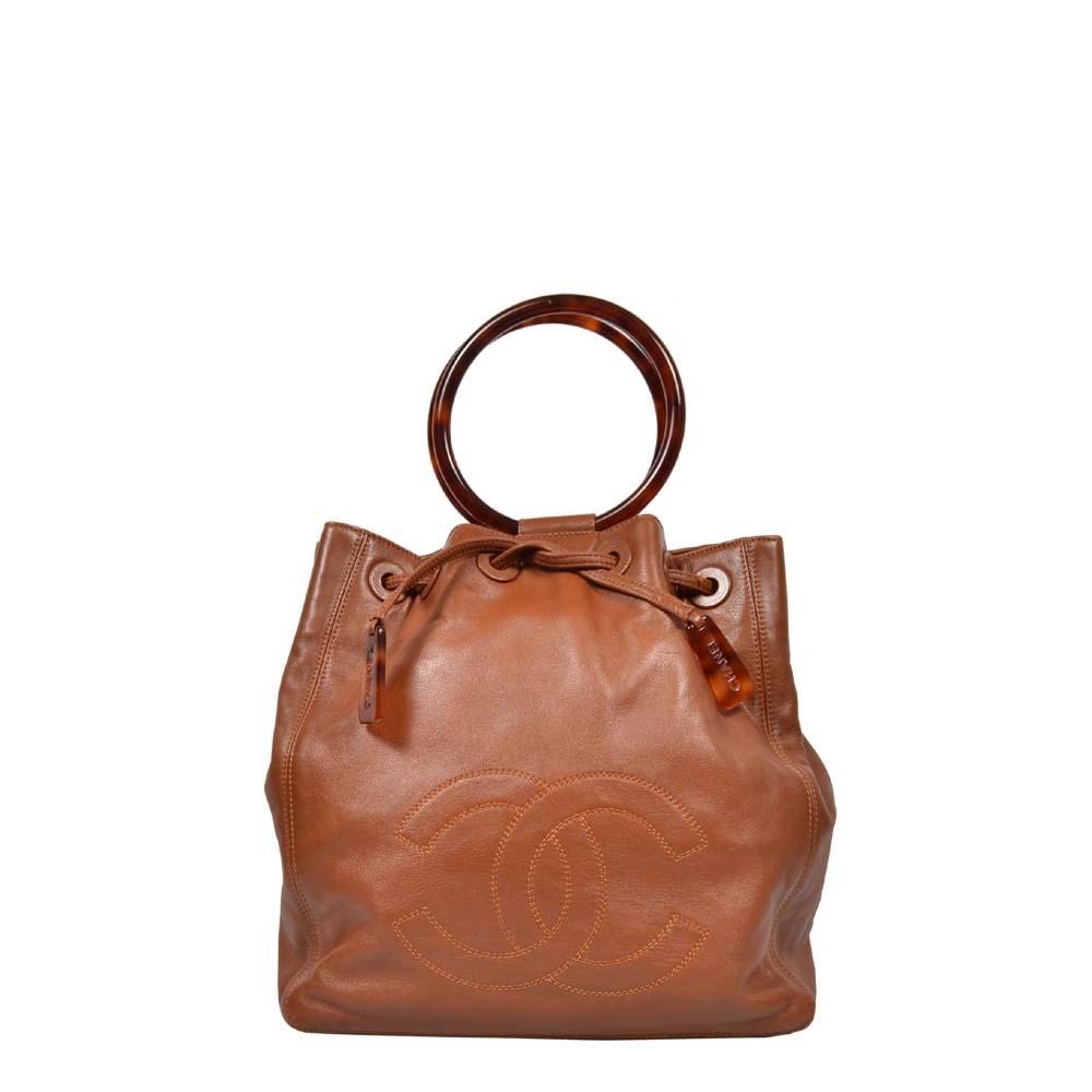 Chanel Handtasche Shopper CC Cognac Leder Bakalit Griff