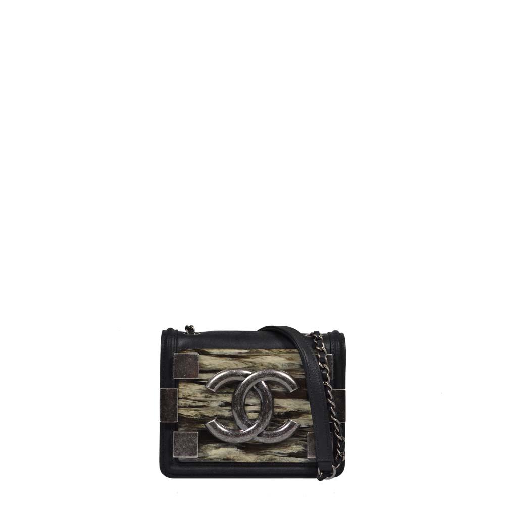 Chanel Tasche Crossbody Lego schwarz Silber Bakelit