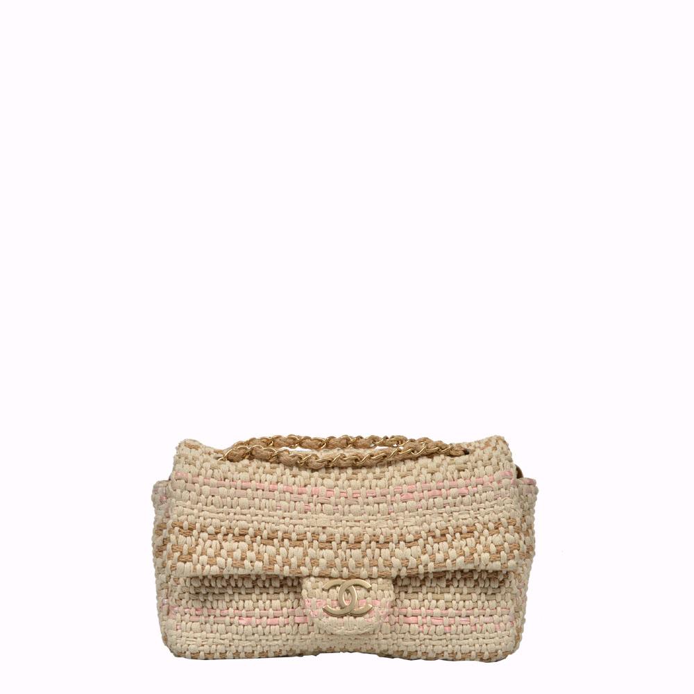 Chanel Timeless 26 Tasche Tweed beige rosa CC Gold matt