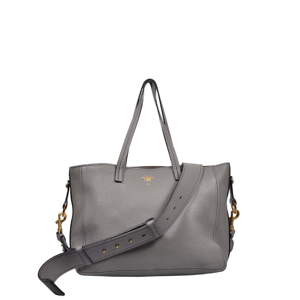 Christian Dior B-BEE Shopper Tasche Leder grau mit Schultergurt
