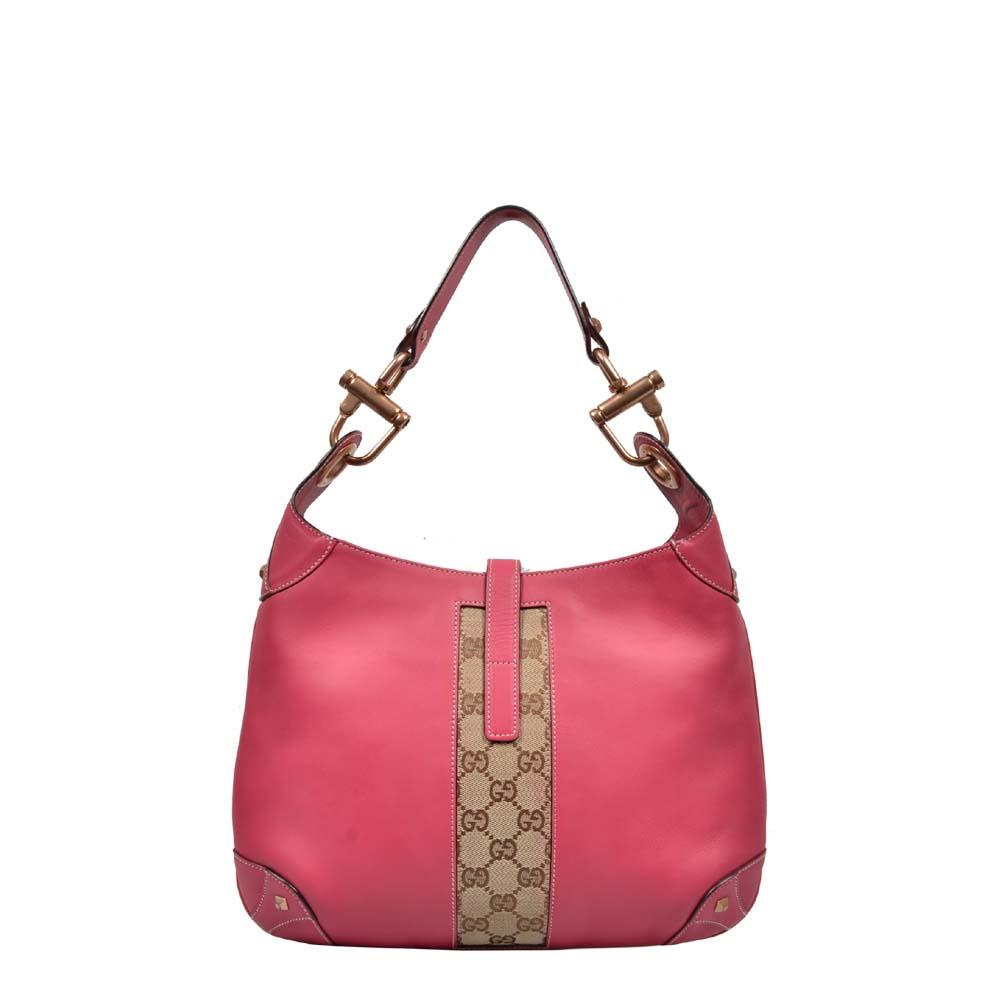 Gucci Tasche Bag Jacky O Canvas Leder Pink Gold Guccissima