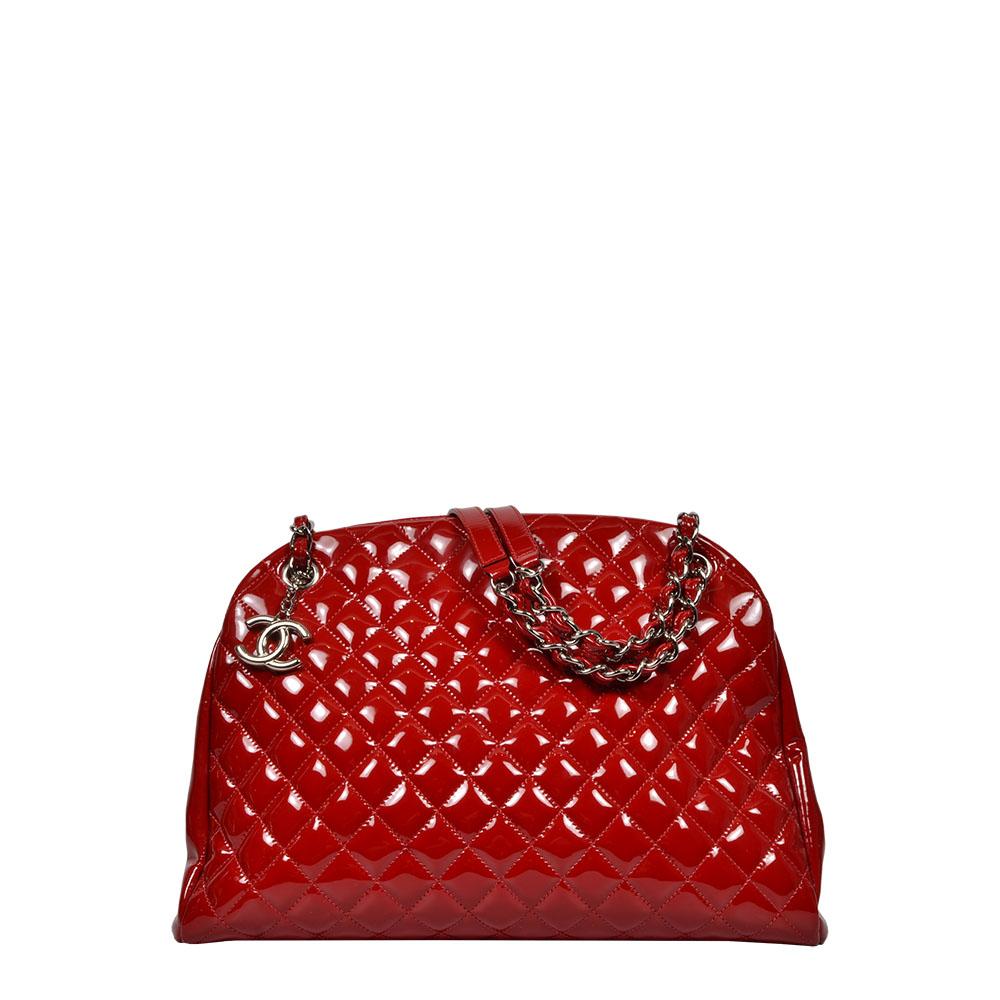 Chanel Tasche Lackleder rot mit Silber Kette