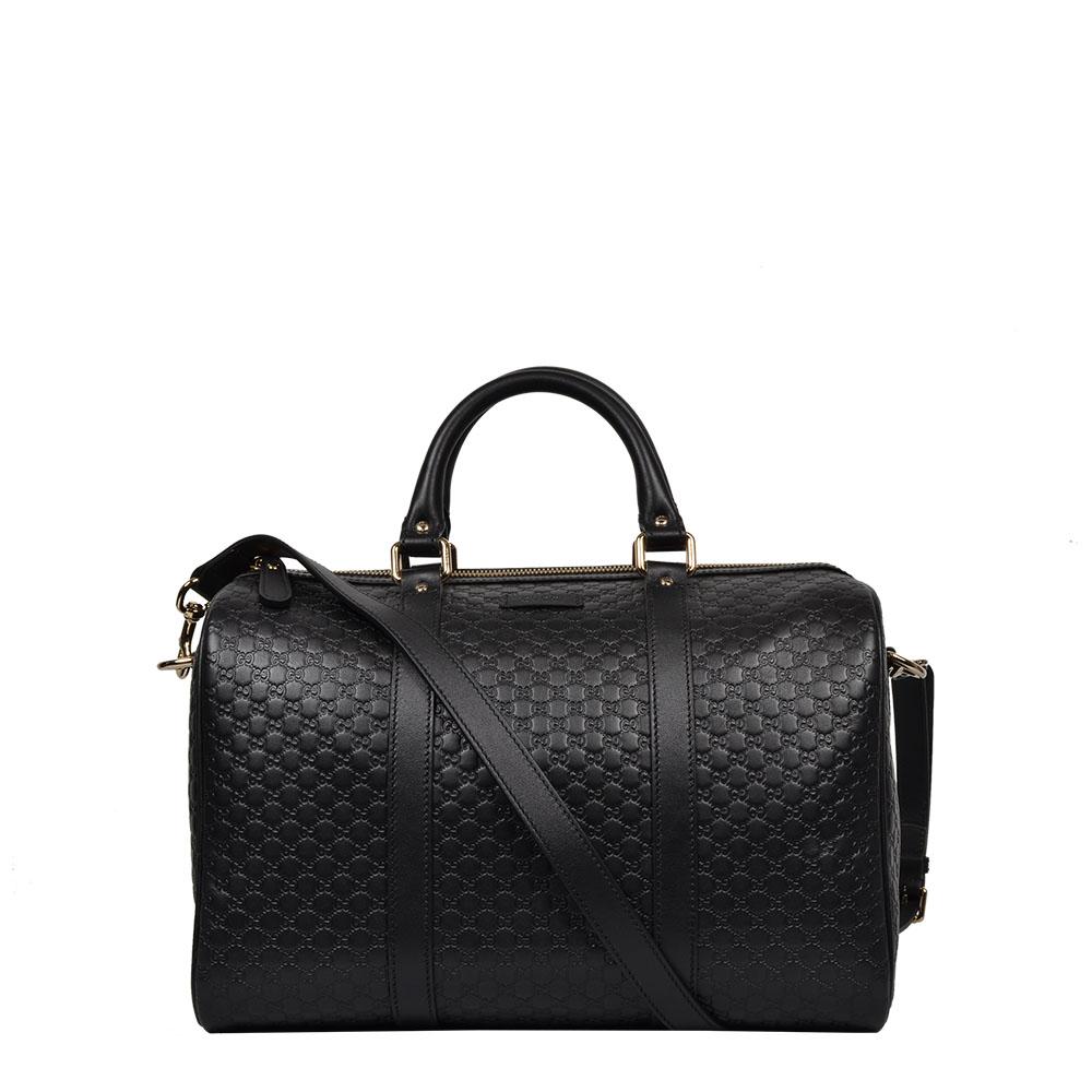 Gucci Tasche Shopper Boston Bowling bag Leder GG Logo schwarz
