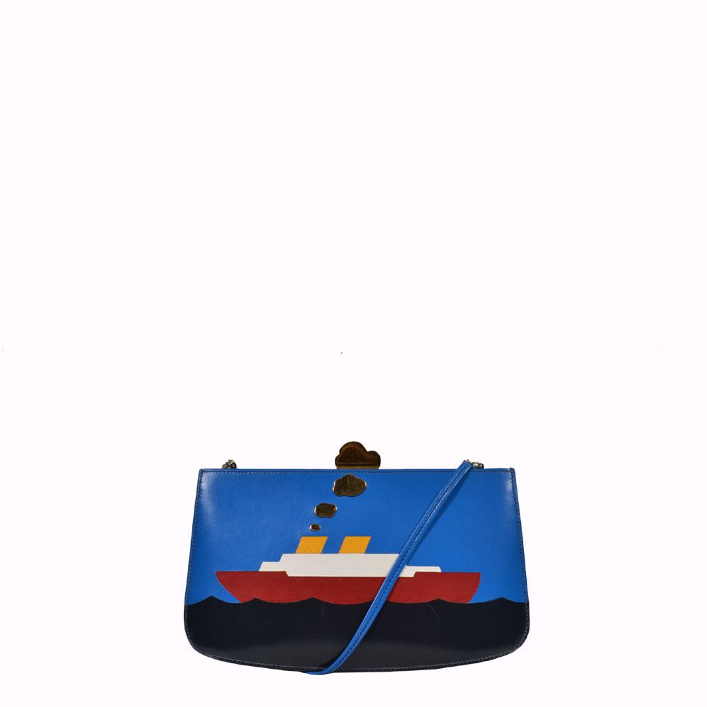 Hermes Crossbody bag blau rot weis gelb Schiff