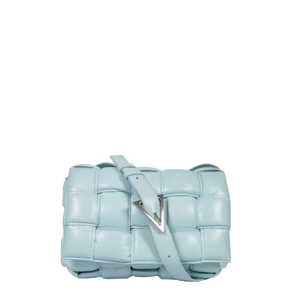 Bottega Veneta Tasche Padded Cassette Leder hellblau silber