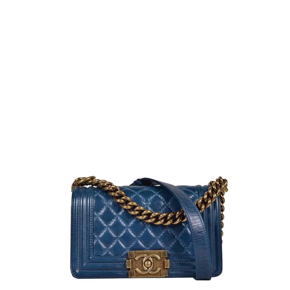 Chanel Tasche Boy blau Gold Party Size