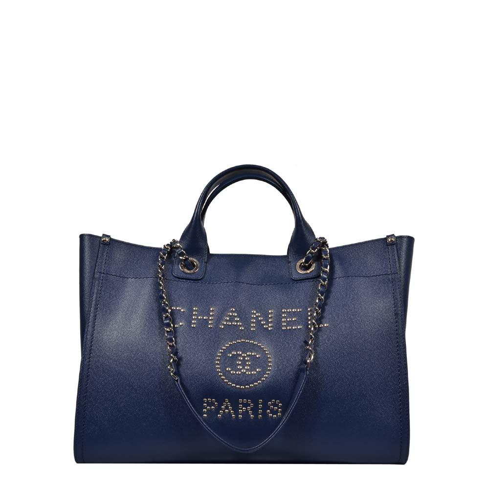 Chanel Shopper Deauville Caviar Leder blau Silber mit Nieten