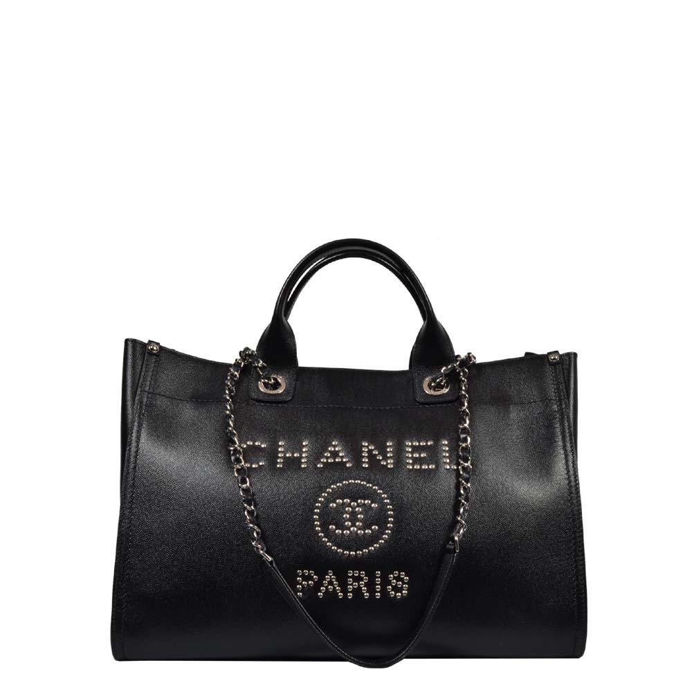 Chanel Shopper Deauville Caviar Leder schwarz Silber mit Nieten