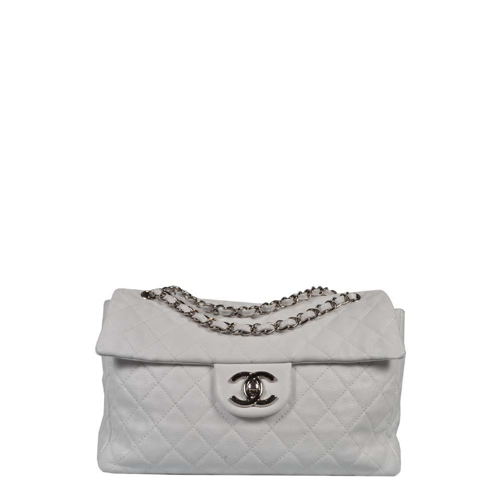 Chanel Tasche 34 Timeless Leder weiß Caviar Silber