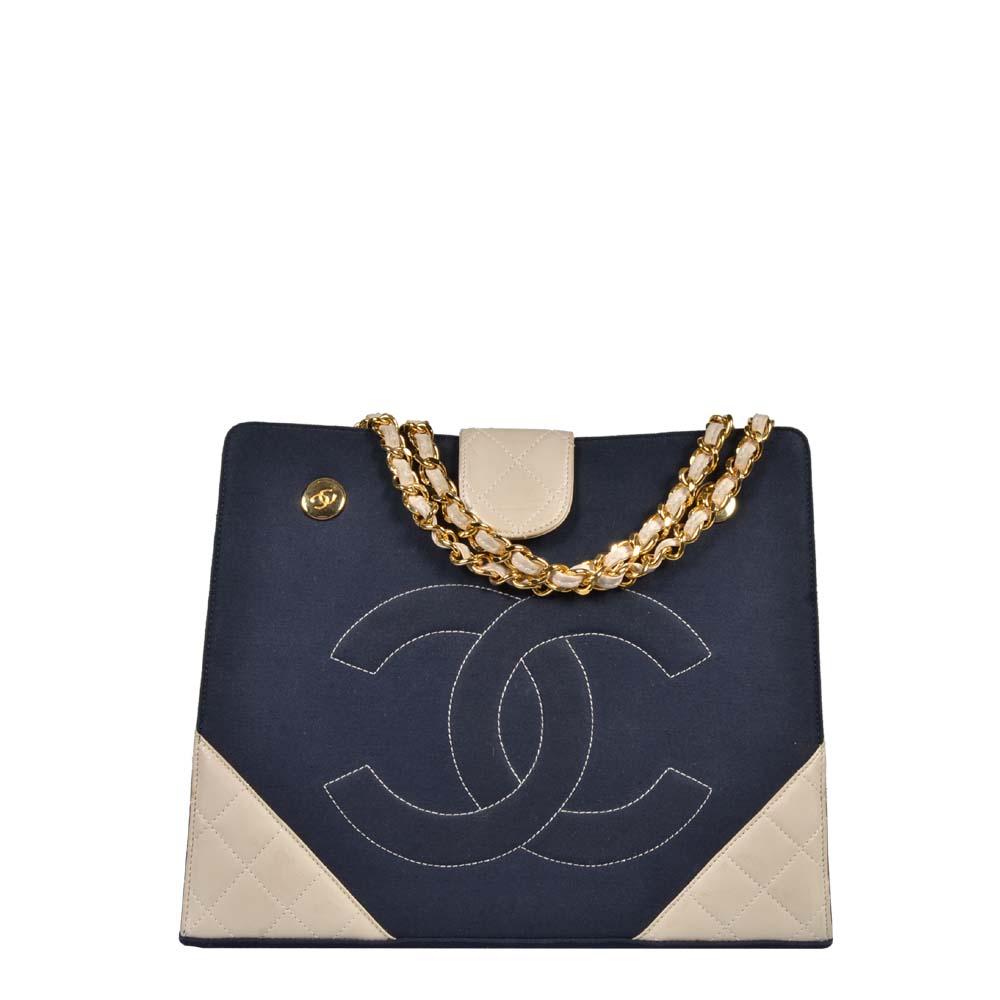 Chanel Tasche Vintage Canvas blau Leder beige Gold Kette