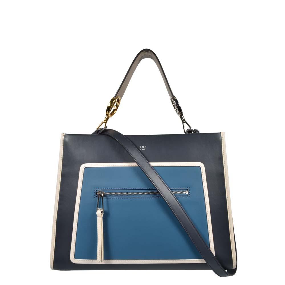 Fendi Runway bag small Leder blau hellblau beige