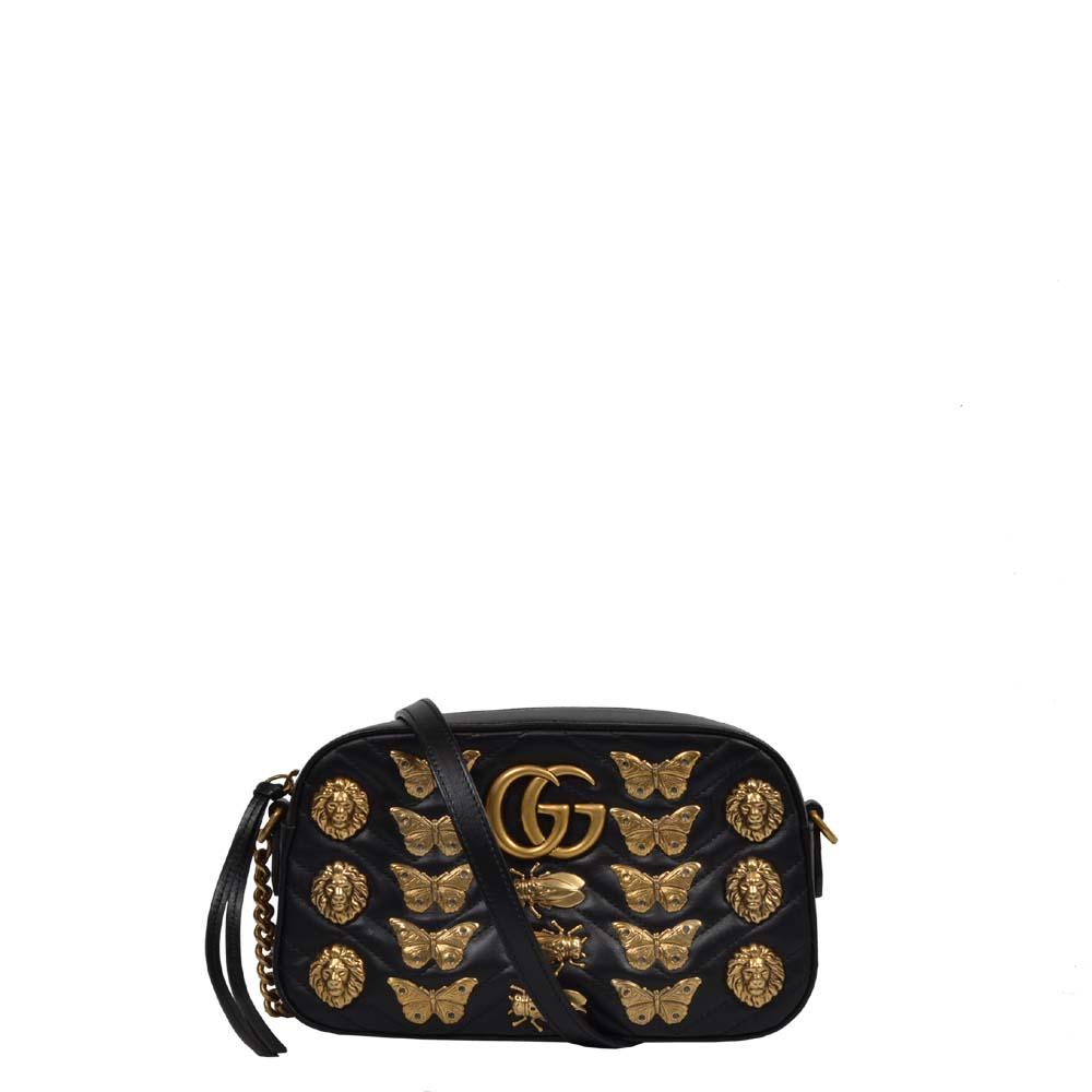 Gucci Tasche Mateless Leder schwarz mit Löwe & Schmetterling