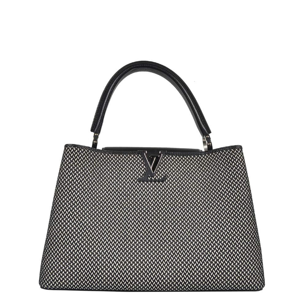 Louis Vuitton Tasche Capucine MM Canvas Leder schwarz weiß Muster Hardware silber