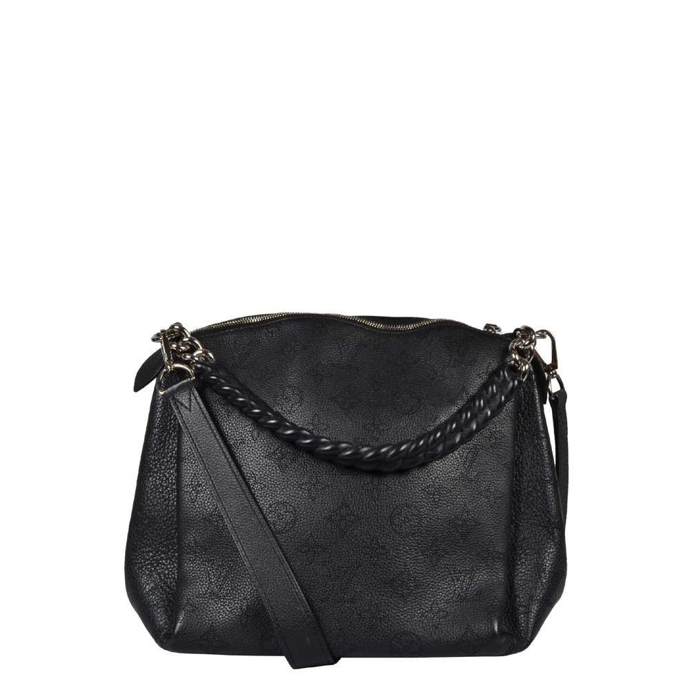 Louis Vuitton Tasche Tote Babylone Chain Monogram Mahina BB schwarz Leder silber
