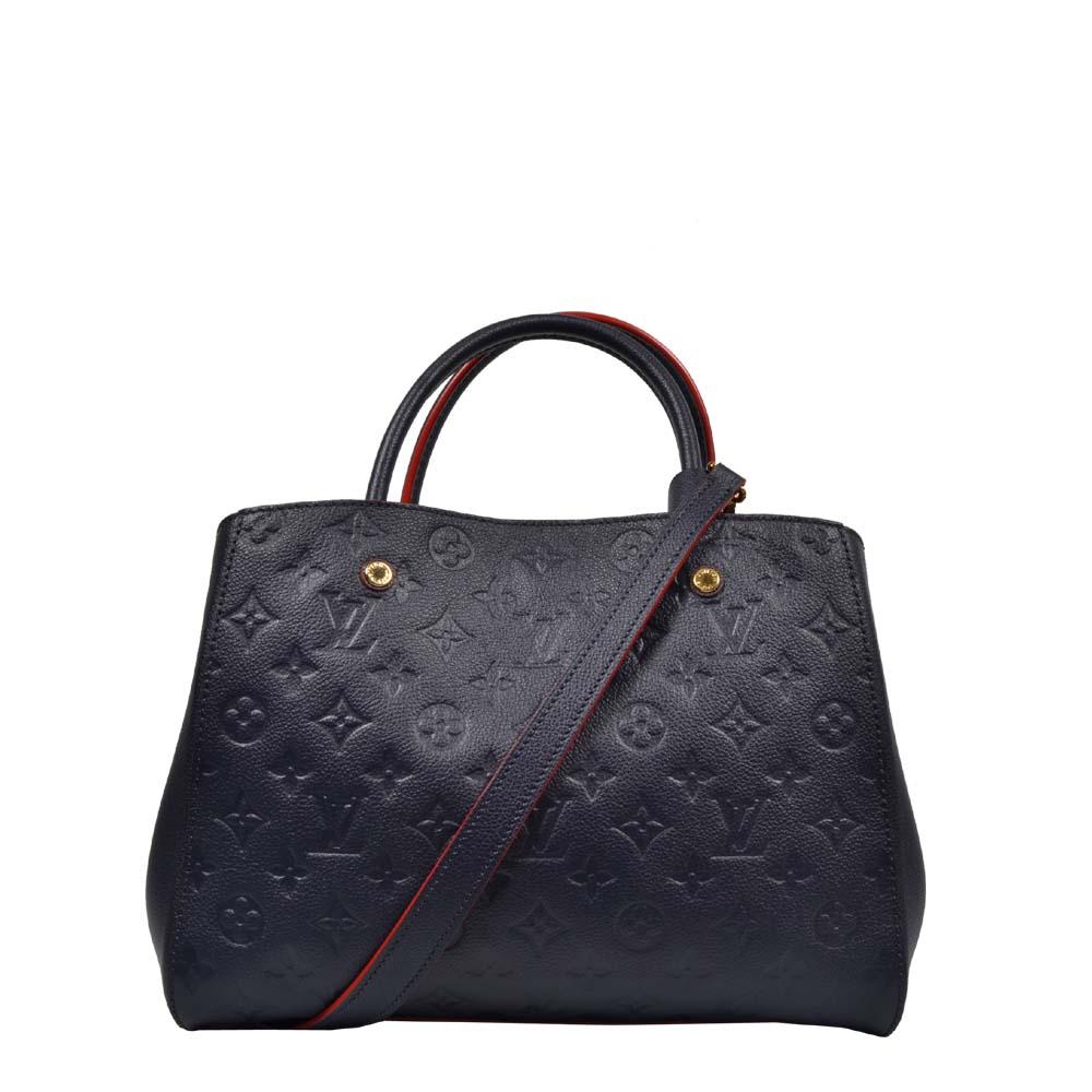 Louis Vuitton Tasche Leder außen blau innen rot LV Monogram Empreinte Schultergurt G