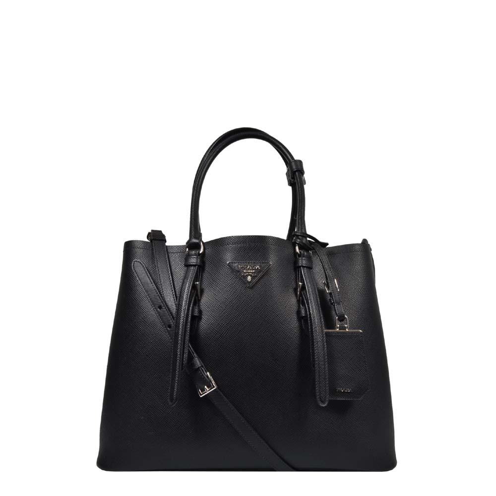 Prada Tasche Shopper schwarz Saffiano Silber HW
