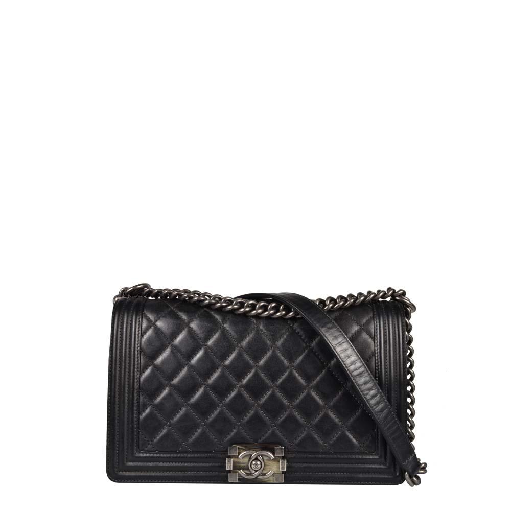 Chanel Tasche Boy 26cm schwarz silber rodiniert Wildleder