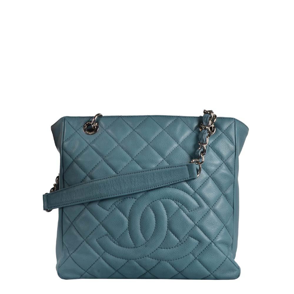 Chanel Tasche GTS Caviar Shoppper babyblau silber Hardware