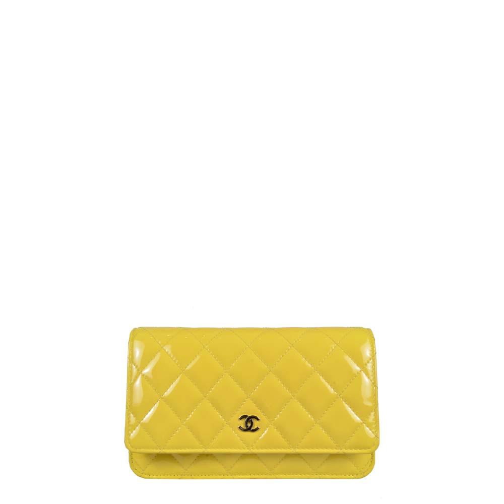 Chanel Wallet on Chain gelb Lackleder Silber