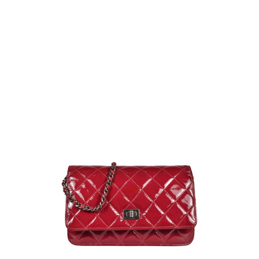Chanel Wallet on Chain rot Lackleder Silber