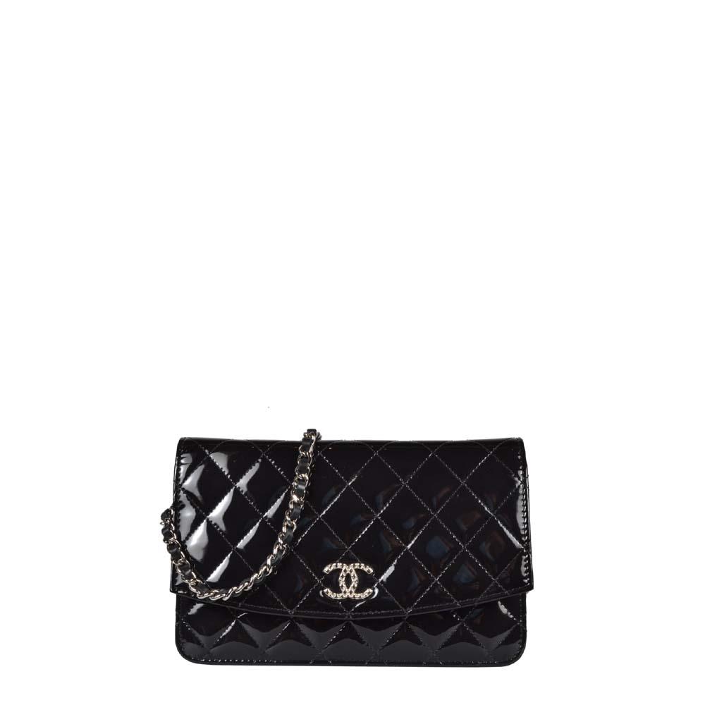 Chanel Wallet on Chain schwarz Lackleder Silber Hardware