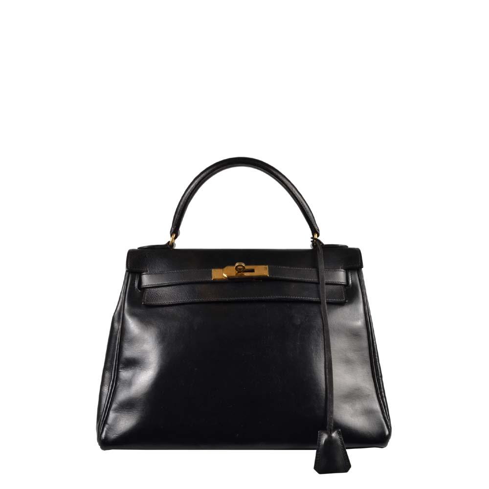 Hermes Kelly Tasche 28 retoune schwarz Box Leder Front
